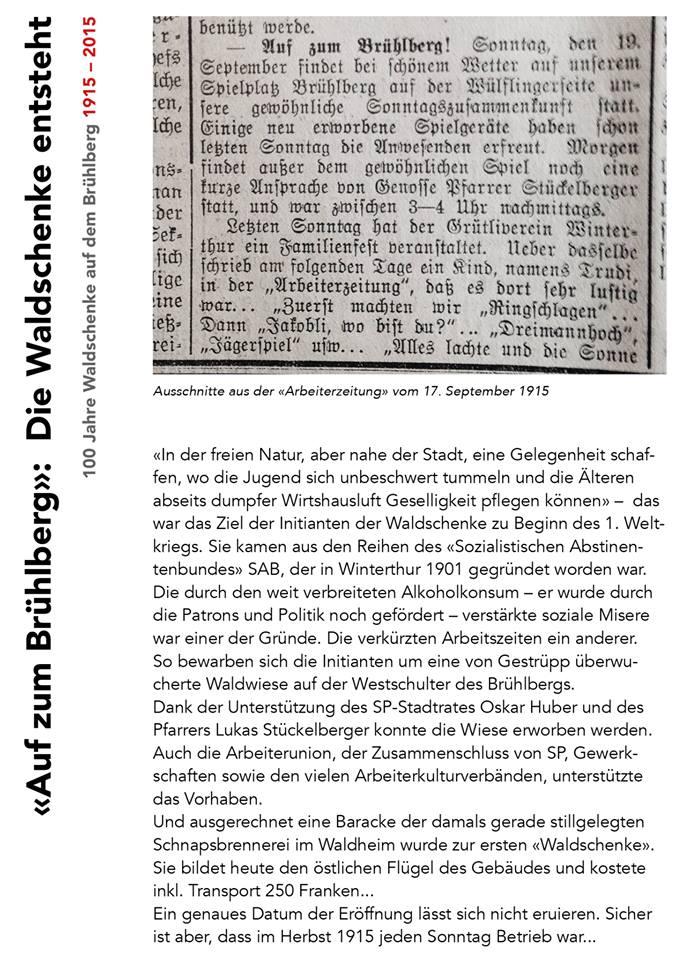 «Auf zum Brühlberg»: Die Waldschenke entsteht